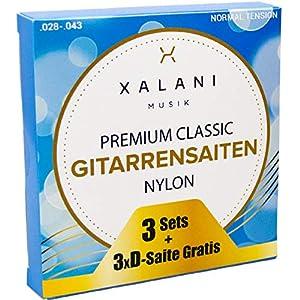 XALANI Gitarrensaiten Konzertgitarre (3er Pack) I 3x Extra D-Saite Gratis I Nylon Saiten Set für Klassische Gitarre und Akustikgitarre