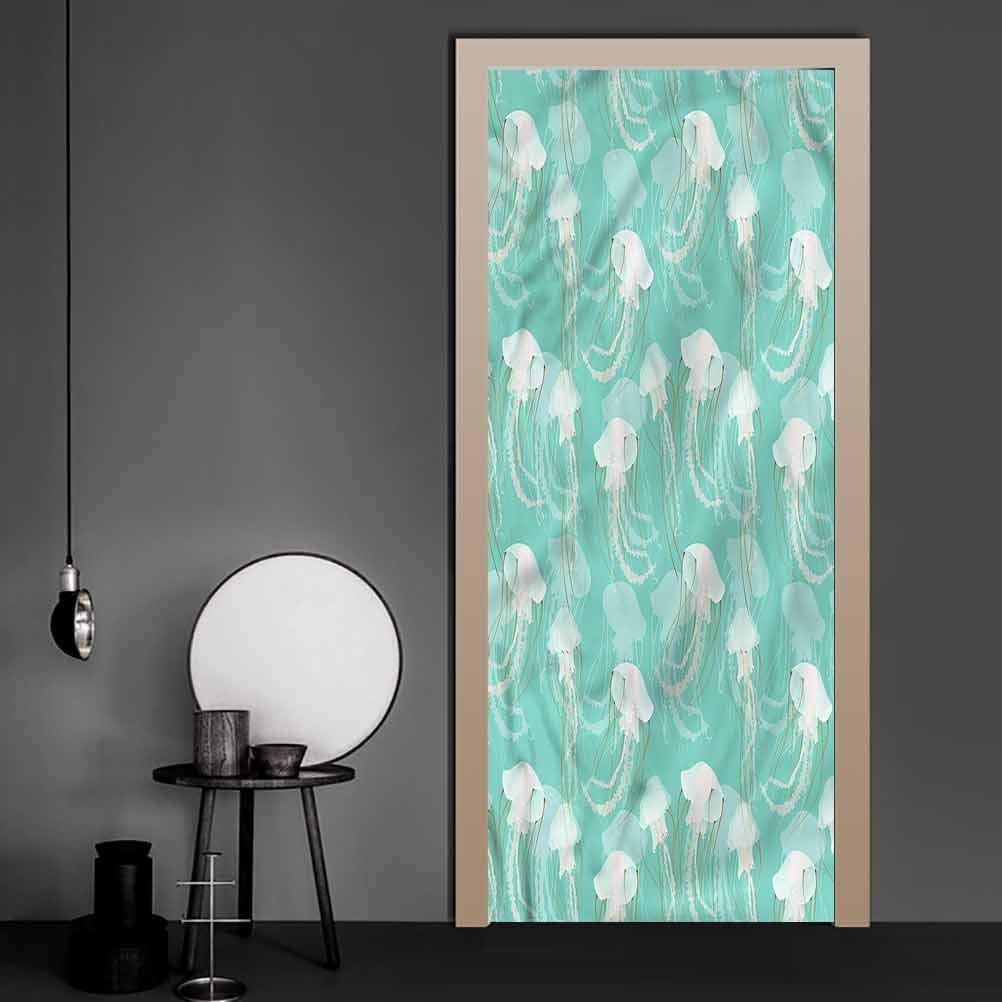 Door Decals Jellyfish, Poisonous Exotic Creature Removable Vinyl Door Wall Mural DIY Art Home Decor 38.6 x 78.7 Inch