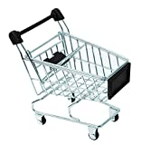 PacknWood Mini Metal Shopping Cart with Black Handles, 3'' x 4.9'' (Pack of 6)