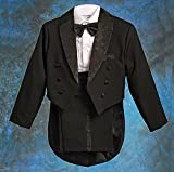 Dressy Daisy Baby Boys' Classic Tuxedo w/Tail 5 Pcs Set Formal Suits Wedding Outfit Size 18-24 Months Black