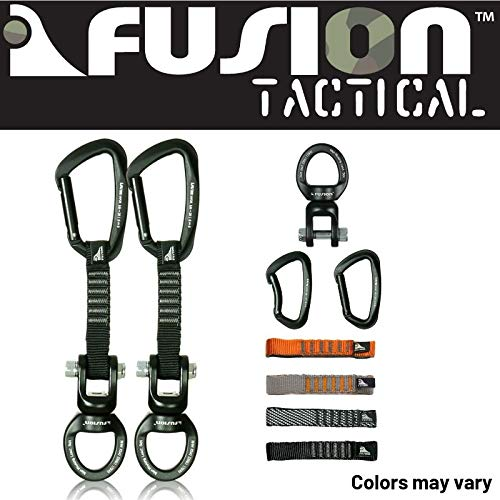 Fusion Climb 2-Pack 12cm Tactical Military Rescue Quickdraw Set with Vapor III Straight Gate Black/Ring Shackle Rotation Swivel Device Carabiners Strongly Made in The USA ()