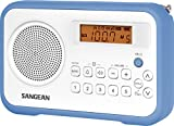 Sangean PR-D18BU AM/FM/Clock Portable Digital Radio with Protective Bumper (White/Blue) (Certified Refurbished)