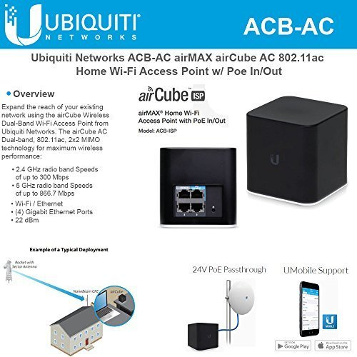 Ubiquiti Networks airCube ACB-AC airMAX 802.11ac Dual-Band Home Wi-Fi Access Point PoE 24V In/Out by Ubiquiti Networks