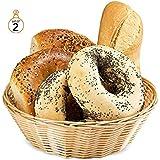 "ChefGiant Basket, Round Woven Bread Roll Baskets, Food Serving Baskets, Basket, Restaurant Quality, Polypropylene Material 8"" Inch - Set of 2"
