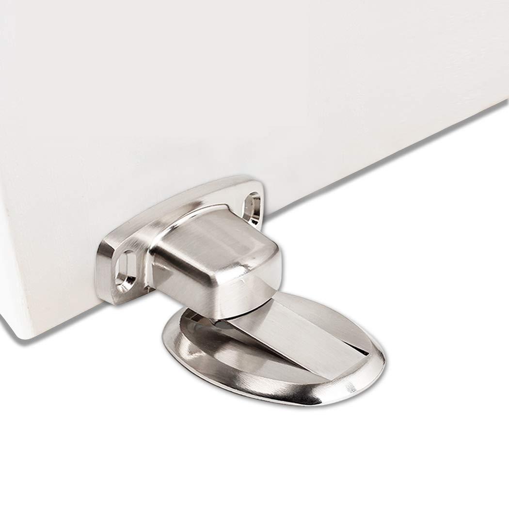 FLYDEER Door Stopper Heavy Duty Magnetic Door Catch Metal Door Holder Stop Magnet with 3M Self Adhesive and Concealed Screws for Home Office Door (Steel Brushed)