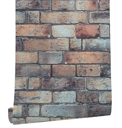 HaokHome 370901 Faux Brick Wallpaper 3D Brown/Black/Blue for Home Kitchen Accent Wall Decor 20.8