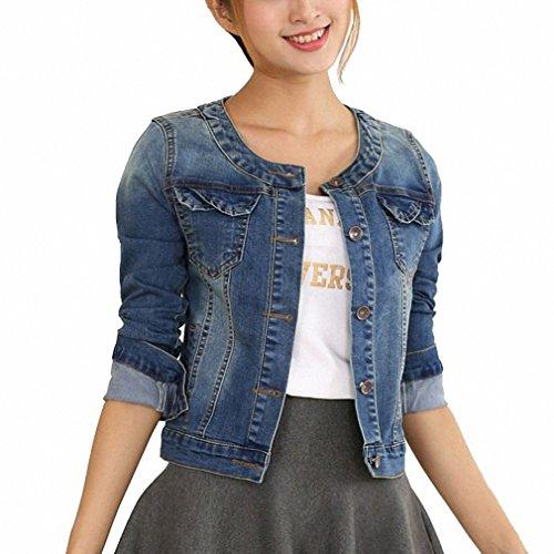 Autumn Denim Jacket For Women Plus Size Long Sleeve O-Neck Short Jeans Jacket Woman Denim Coat Blue L