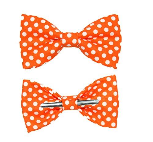 Boys Tangerine Orange White Polka Dot Clip On Cotton Bow Tie