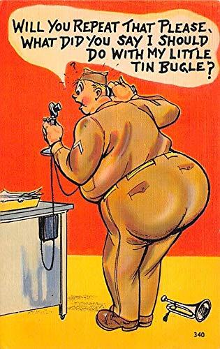 Military Comic Postcard, Old Vintage Antique Post Card Tin Bugle, Series T Army Comics, Artist Munson Unused