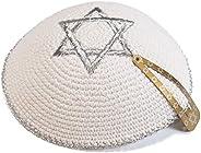 JL Kippha's 17cm White Knitted Silver Embroidered Magen David Kippah Jewish Yarmulke for Synag
