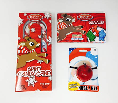 Rudolf the Red Nose Reindeer Stocking Stuffer Bundle with Gummies, Flashing Red Nose and Large Candy Cane