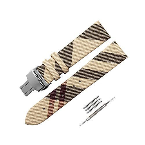 Yiye pavilion 12mm/14mm/16mm/18mm/20mm/22mm Calfskin Leather Watch Band Replacement Watch Strap Quick Release Deployment Butterfly Buckle with Tool Fit for Burberry Watch (Beige (Steel Buckle), ()
