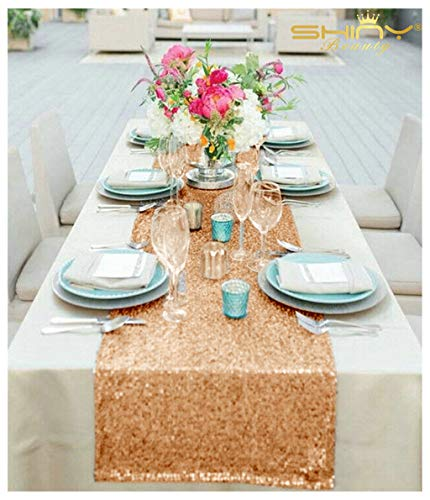 ShinyBeauty Rose Gold Sequin Table Runner (12x72-Inch)