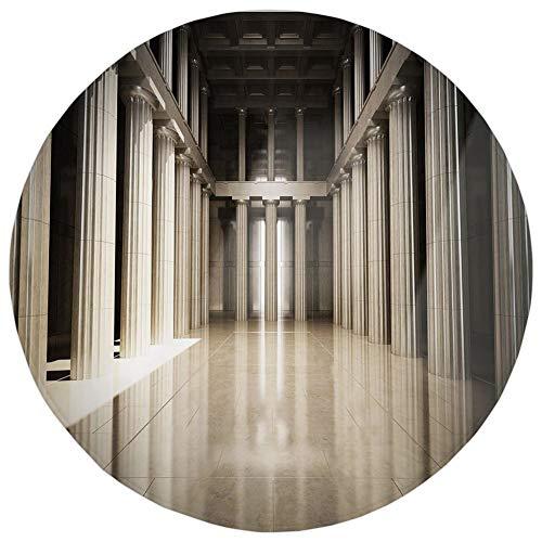 YOWAKi Round Rug Mat Carpet,Pillar Decor,3D Model Style Column Interior Empty Room Digital Image Decorative Design,Beige and Tan,Flannel Microfiber Non-Slip Soft Absorbent,for Kitchen Floor Bathroom