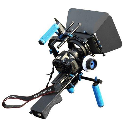SunSmart Pro DSLR Rig video camera Shoulder Mount Kit including DSLR Rig shoulder support, Follow Focus F1, Matte Box M3, Adjustable Platform, Top Handle and C-Shape Support Cage for All - Matte Box Dv Filter