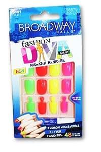 Broadway nails fashion diva mismatch manicure false nails beauty - Diva nails and beauty ...