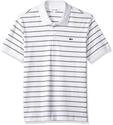 Lacoste Mens Short Sleeve Striped Pima Interlock Regular Fit Polo, DH3988
