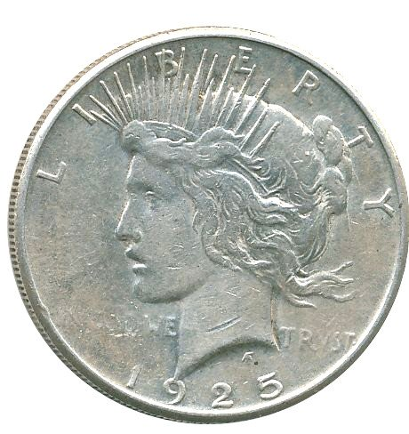 1925 Peace $1 Extremely Fine - Extremely Fine Silver Coin