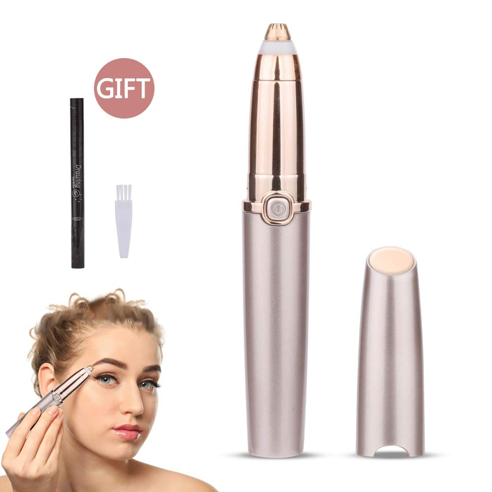 Eyebrow Hair Remover, DreamCatching Electric Eyebrow Trimmer Epilator for Women, Portable Painless Eyebrow Razor with Light (Battery Not Included), Rose Gold