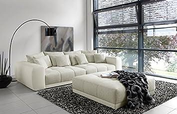 Lifestyle4living Big Sofa In Weiss Grau Mit Steppungen Im Sitzelement
