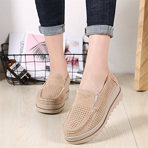 Shoes Moccasins Slip Comfort Women Hollow Top Wedge Platform Khaki Loafers On Wide Sanyes Low Suede 4wq07Zcf
