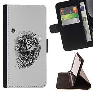 KingStore / Leather Etui en cuir / Sony Xperia Z3 D6603 / Tigre enojado