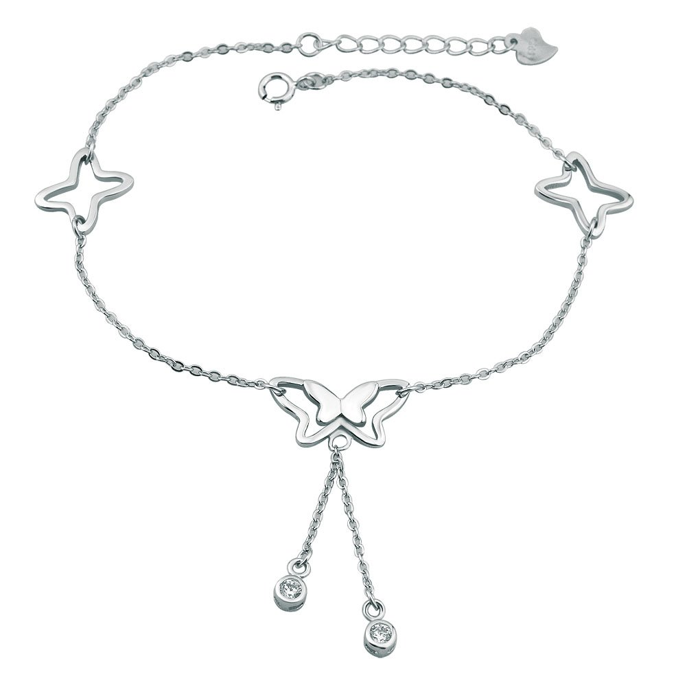 LovelyCharms 925 Sterling Silver Butterflies Chain Anklet Ankle Bracelets
