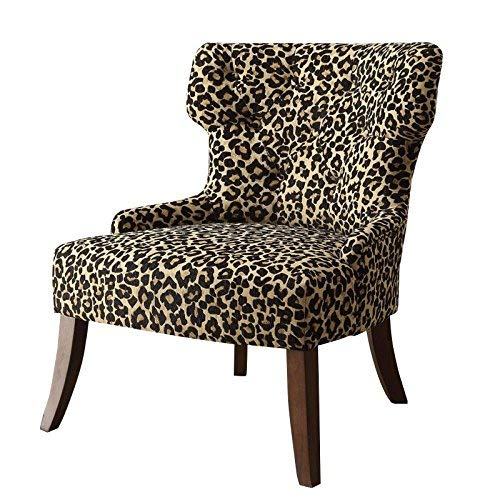 ACME Claribel Leopard Fabric and Espresso Accent Chair (Chair Leopard)