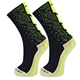 Lanpet Men's Outdoor Sport Socks Anti-Slip Football Socks Soccer Short Stockings S47 (Black Green)