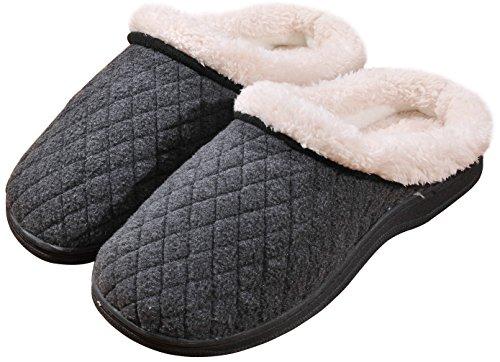 Plush Wool Warm Gray Lined Slippers Slip House Fleece Outdoor Winter Beurlike Mens on tI1Bxx
