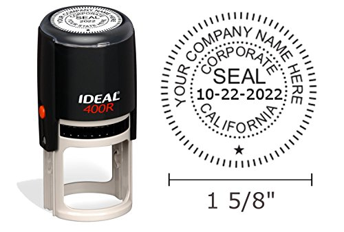 California Corporate Seal Stamp, Ideal 400R, Round 1-5/8'' Impression, Black Body by Hubco