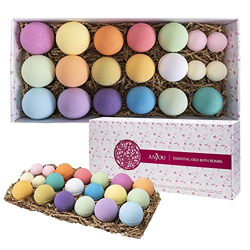 Bath Bombs Gift Set, Anjou 20 Pack Natural Essential Oils Lush Spa Bath Fizzies for Moisturizing Dry Skin, Perfect Gift Kit Ideas for Girlfriends, Women, Moms from Anjou