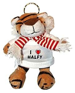 Tigre de peluche (llavero) con Amo Halfy en la camiseta (nombre de pila/apellido/apodo)