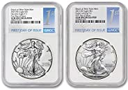 2021 (W) Set of (2) 1 oz American Silver Eagle Coins Gem Uncirculated (Type 1 & Type 2 - First Day of Issu