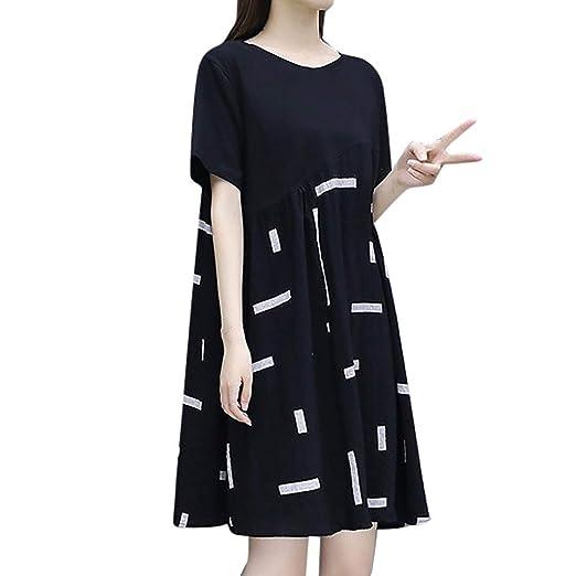 Shiyingl Fahsion Women Plus Size Dress Patchwork Knee-Length ...