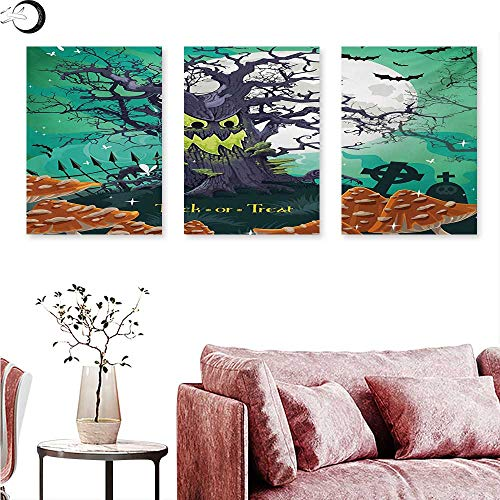 Mannwarehouse Halloween Canvas Prints Wall Art Trick or Treat Dead Forest with Spooky Tree Graves Big Kids Cartoon Art Print Triptych Photo Frame Multicolor W 16