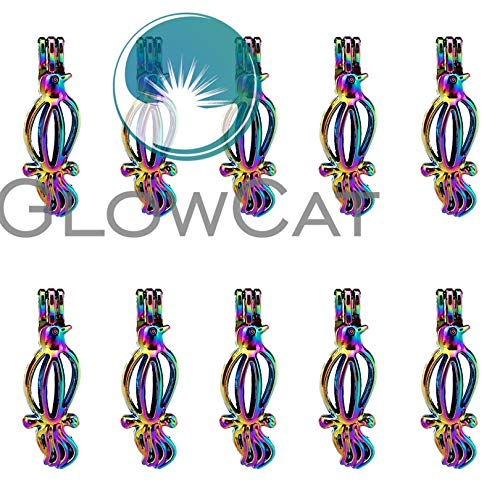 (Wildy CCA Glowcat 10x C585 Rainbow Color Turtledove Birds Beads Cage Making Essential Oil Pearl Cage Locket Pendant)