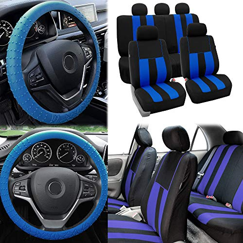 FH Group Pique Fabric Full Set Seat Covers w. Steering Wheel Covers, Blue/Black- Fit Most Car, Truck, SUV, or Van