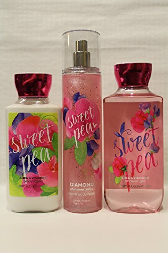 Bath & Body Works ~ Signature Collection ~ SWEET PEA ~ Shower Gel, Diamond Shimmer Mist & Body Lotion ~ Full Size 3 pc. Gift Set