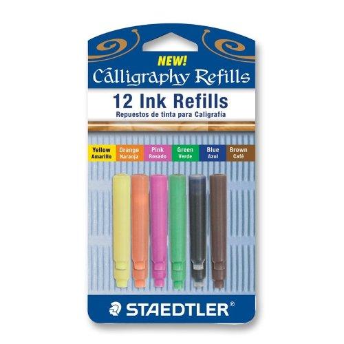 Ink Colour Std - Staedtler Caligraphy Pen Refill Cartridges, 12 Assorted Colors (899RASBK12)