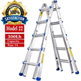 TOPRUNG Model-22 ft. Aluminum Extension Multi-Purpose Ladder with 300 lb. Load Capacity Type IA Duty Rating