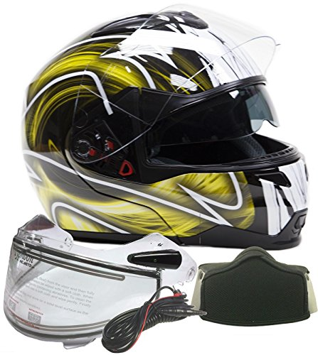 Modular Dual Visor Snowmobile Helmet w/ Electric Heated Shield - Black / Yellow ( XL ) Electric Snowmobile Shield