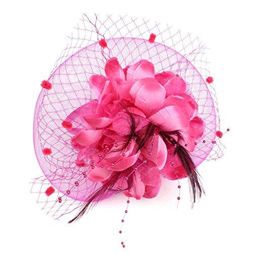 Auranso Derby Netting Mesh Headband Feather Big Flowers Hair Band Tea Party Girls Women Wedding Bridal Fascinator Hat ()