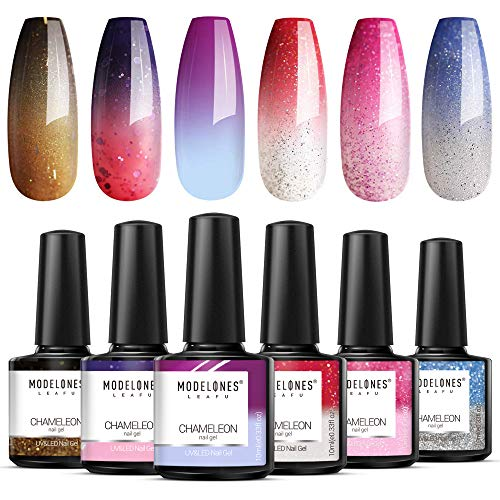 Modelones Mood Gel Nail Polish Set - 6 Colors Collection Temperature Color Changing Gel Glitter Nail Varnish Soak Off UV LED Manicure 0.33 OZ (Best Nail Varnish For Not Chipping)