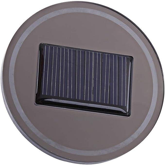 Solar Energy Cup Holder Bottom Pad LED Light Cover Mouldings Trim For Car Truck