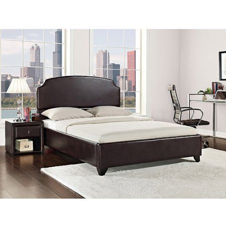 King Size Upholstered Bed, Vintage Espresso Faux Leather, Upholstered Headboard, Footboard, Side Rails, Hardwood Frame, Assembly Required, Slat Support System, Bundle with Expert Guide for Better (Rails Slats)