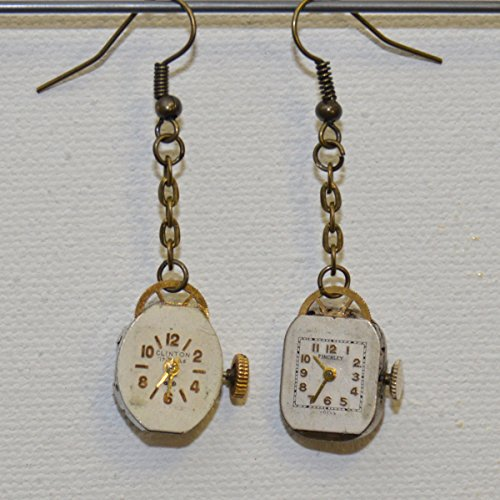 (Earrings: Vintage watch with crystals (ruby red) and dial)