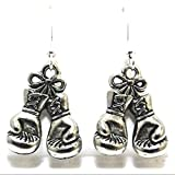 Silver Tone Pewter Boxing Gloves Charms on Hypoallergenic French Hook Dangle Earrings