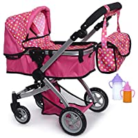 Exquisite Buggy Deluxe Doll Pram Stroller with Swiveling Wheels & Adjustable Handle and A Free Carriage Bag with 2 Free Magic Bottles Included