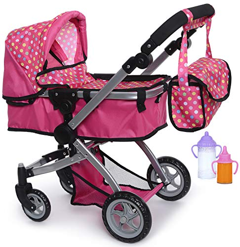 Exquisite Buggy | Foldable Pram For Baby Doll With Polka Dots Design With Swiveling Wheel Adjustable Handle With 2 Free Magic Toy Bottles